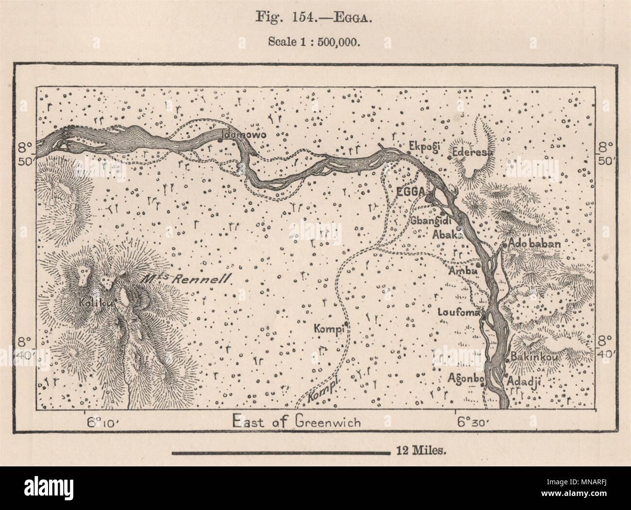 Egga. Nigeria. Niger river. Katcha. Mounts Rennell 1885 old antique ...