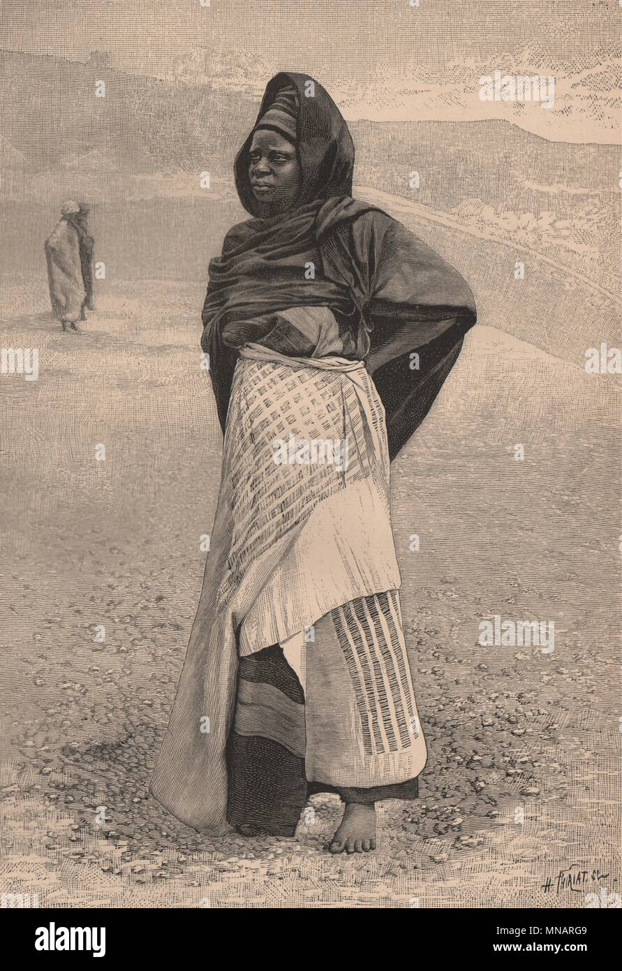 Nupe (Tapa) Woman. Nigeria. The Niger Basin 1885 old antique print picture - Stock Image