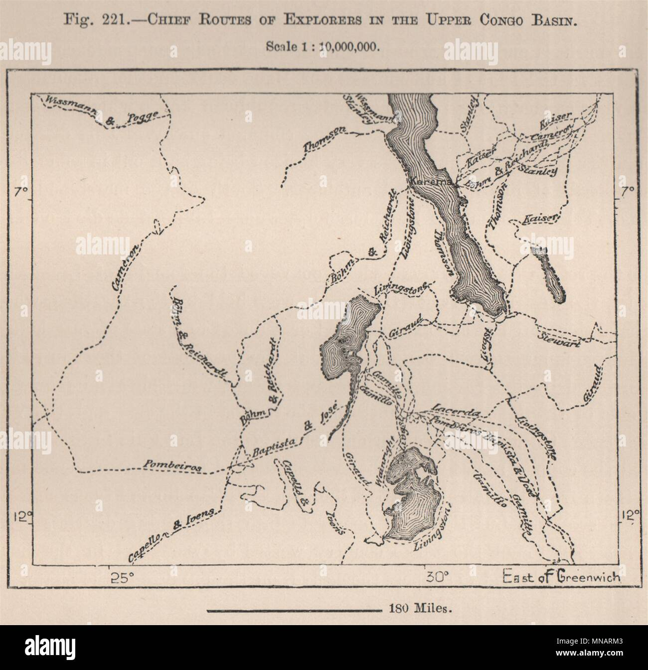 Congo Basin On Map Of Africa.Chief Routes Of Explorers In The Upper Congo Basin Africa 1885 Old