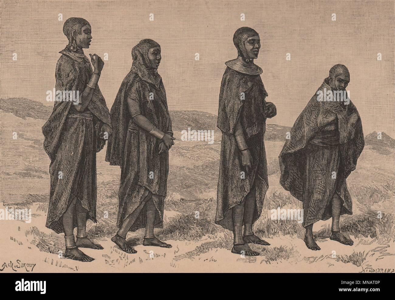 Masai Women of Njeri. Kenya. Maasai Land 1885 old antique print picture - Stock Image