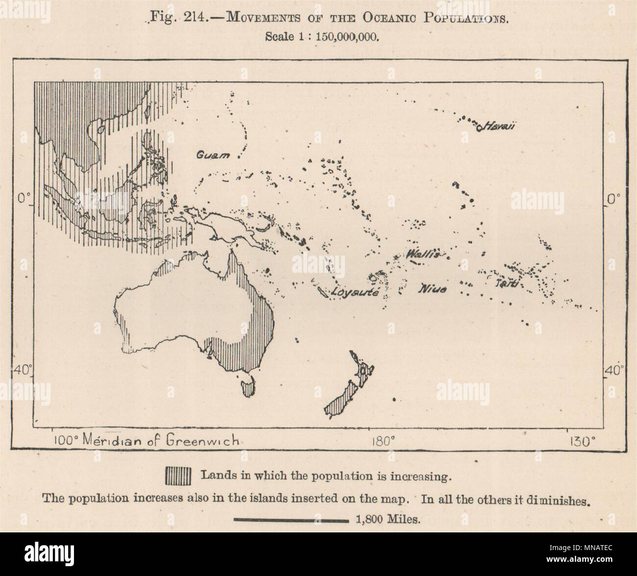 Movements of the Oceanic Populations. Oceania. Polynesia 1885 old antique map - Stock Image