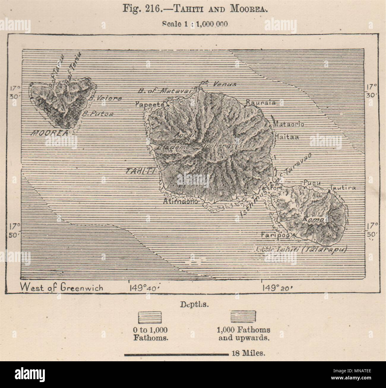 Tahiti And Moorea French Polynesia 1885 Old Antique Vintage