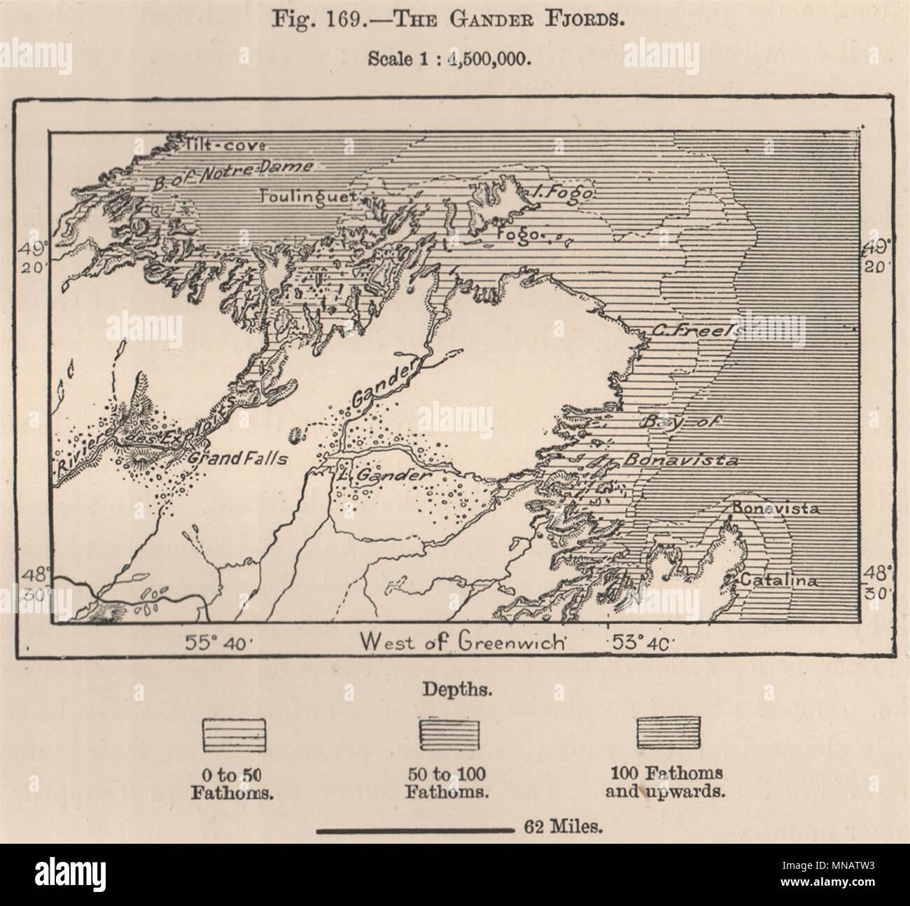 Gander Canada Map.The Gander Fjords Canada 1885 Old Antique Vintage Map Plan Chart