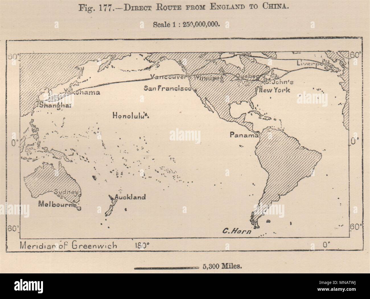 Direct route from england to china world canada 1885 old antique direct route from england to china world canada 1885 old antique map chart gumiabroncs Choice Image