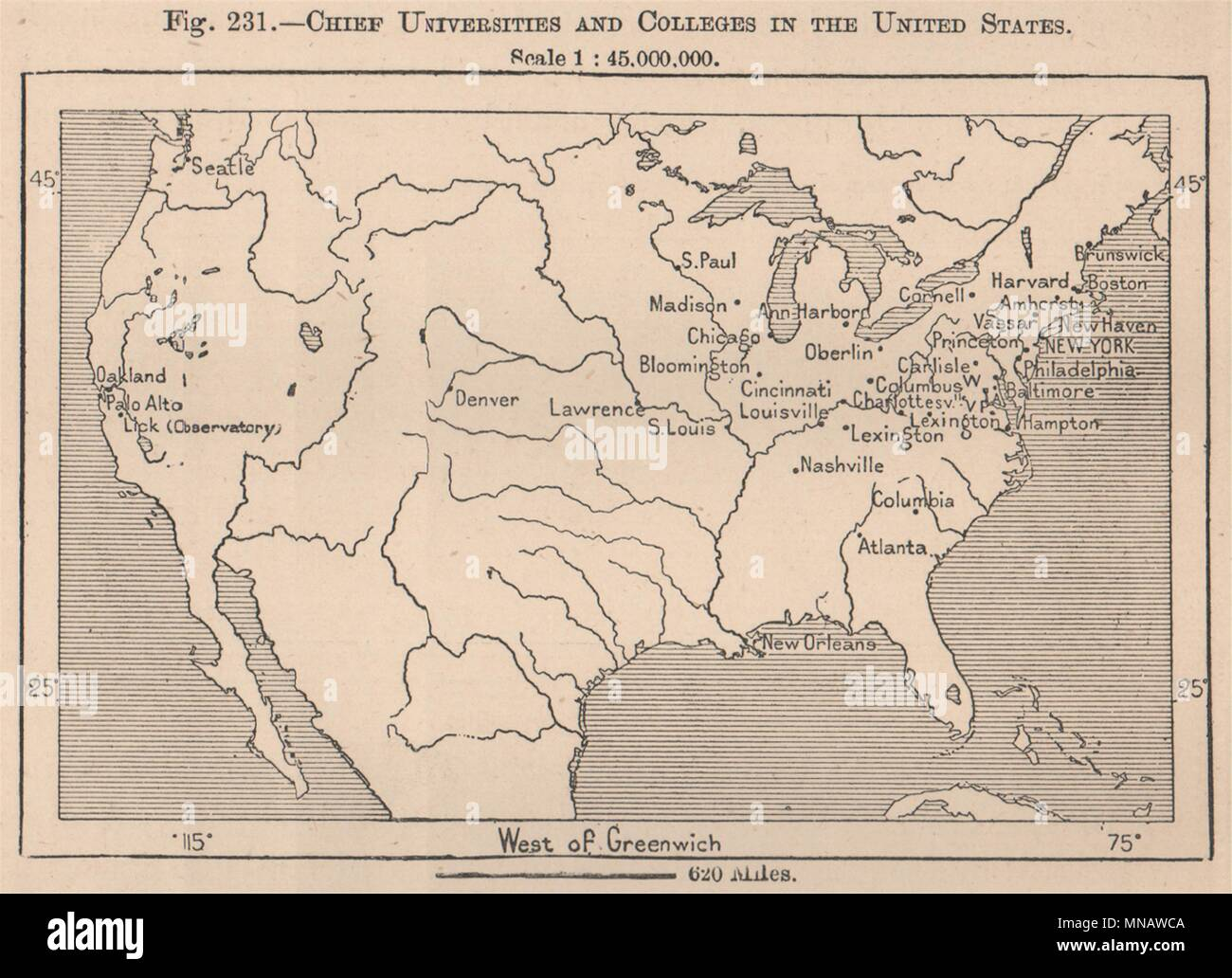 Chief Universities and Colleges in the United States. USA 1885 old ...