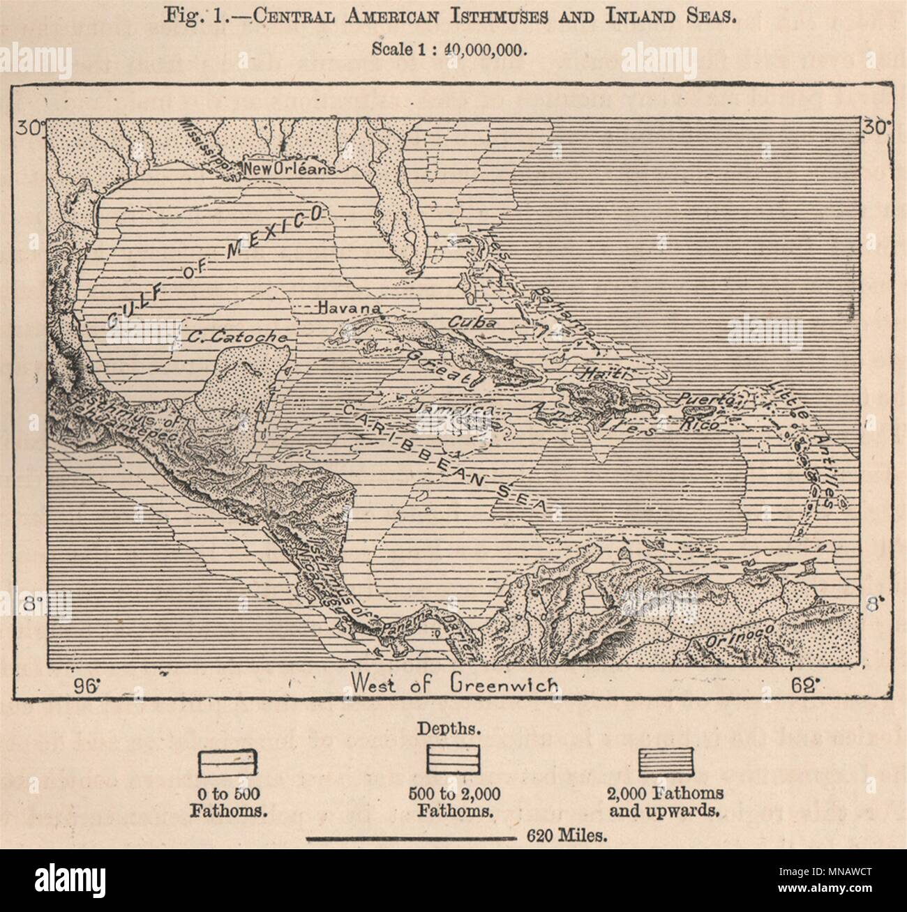 Central American Isthmuses and Inland Seas. Caribbean 1885 old ...