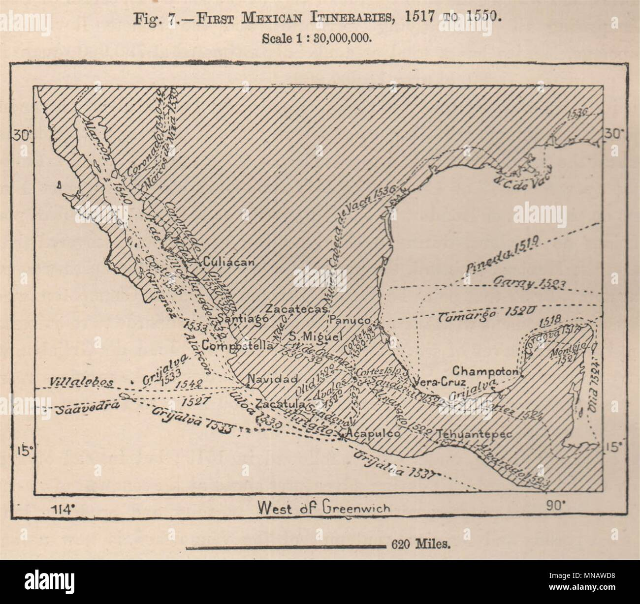 First Mexican exploration Itineraries, 1517 to 1550. Mexico 1885 old map - Stock Image