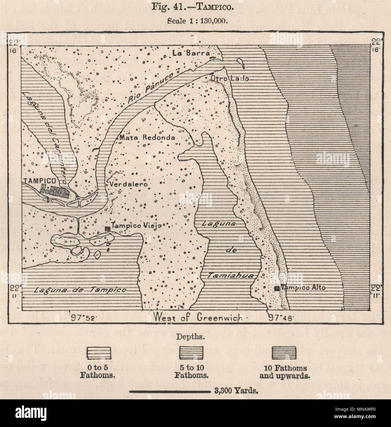 Tampico Mexico 1885 Old Antique Vintage Map Plan Chart Stock Photo