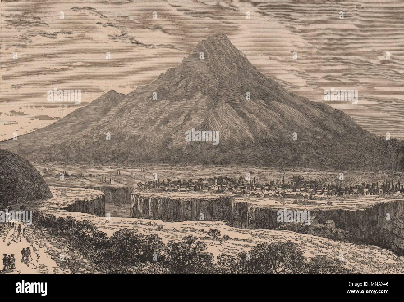 Ibarra, and the Imbabura Volcano. Ecuador 1885 old antique print picture - Stock Image