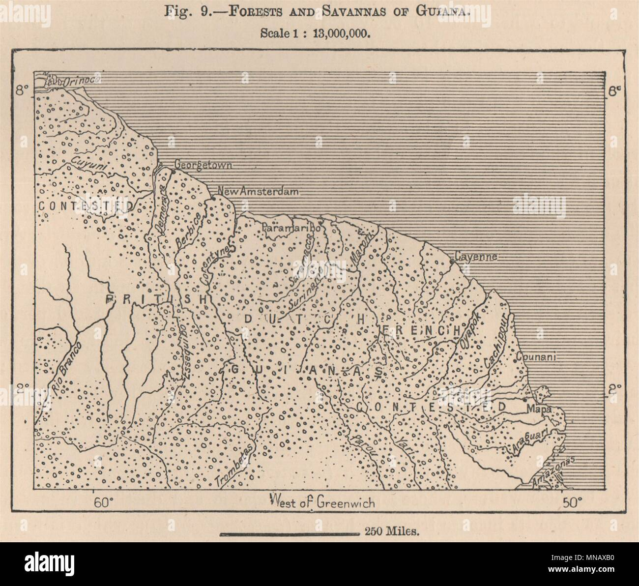 Forests and Savannas of Guyana. Guyana. South America 1885 old ...