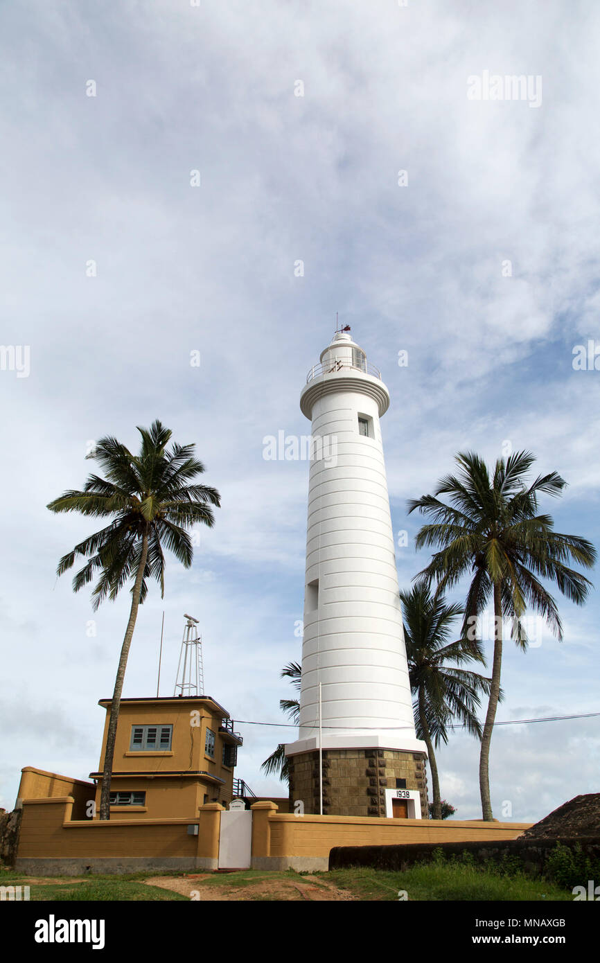 Galle Lighthouse in Galle, Sri Lanka, The landmark dates from 1938 and is also known as the Pointe de Galle Light. - Stock Image