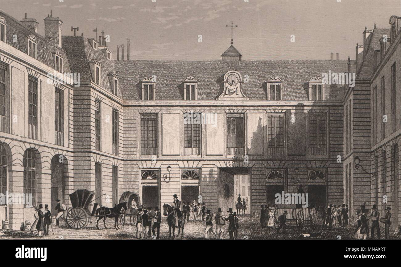 Paris. grand bureau de la poste. bicknell 1845 old antique print