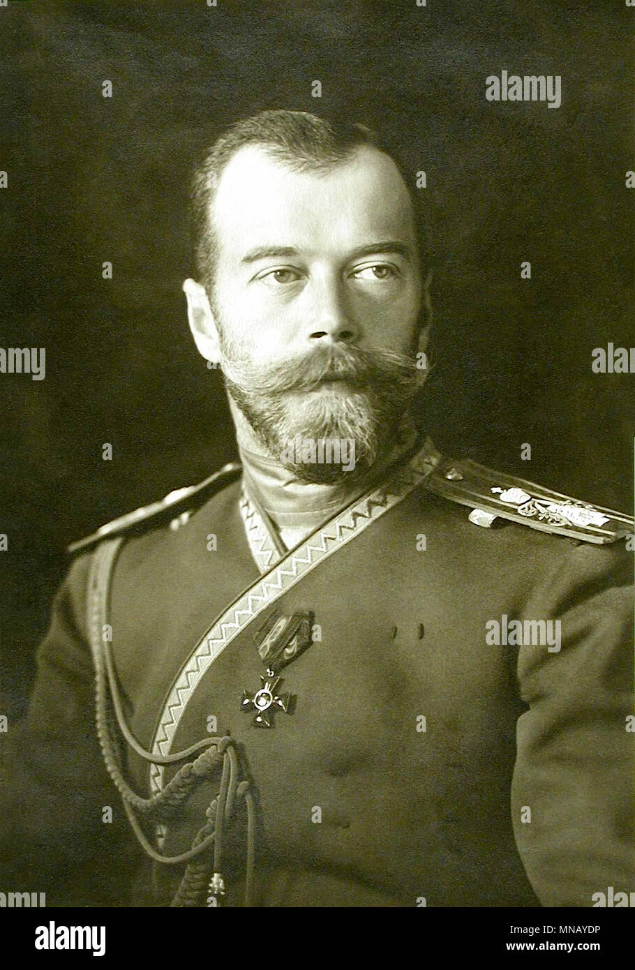 Nicholas II of Russia, Nicholas II or Nikolai II (1868 – 1918), Saint Nicholas II of Russia in the Russian Orthodox Church, was the last Emperor of Russia, ruling from 1 November 1894 until his forced abdication on 15 March 1917 - Stock Image