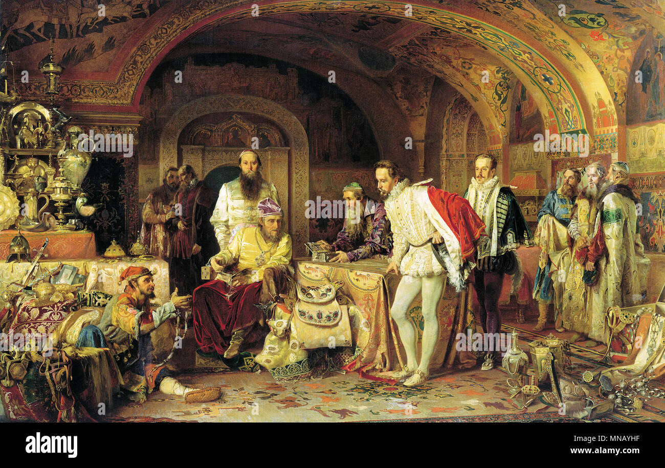 Ivan the Terrible Showing His Treasures to Jerome Horsey by Alexander Litovchenko (1875) - Stock Image