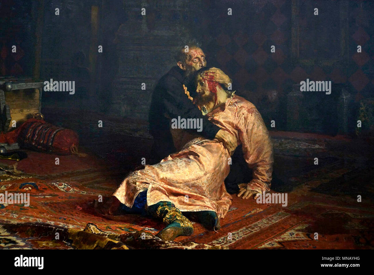 Ivan the Terrible killing his son by Ilya Repin, Ivan IV Vasilyevich (1584) - Stock Image