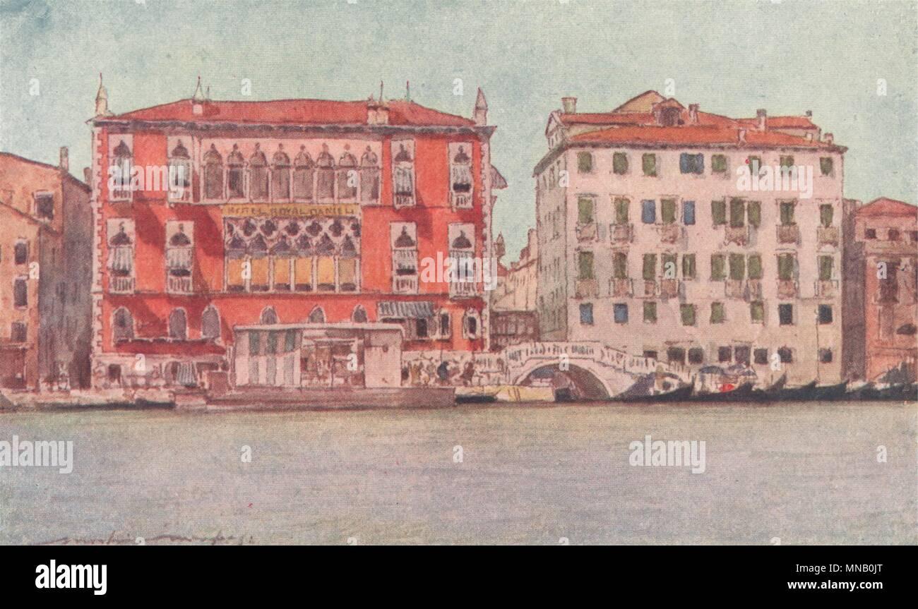 /'St Mark/'s Basin/' by Mortimer Menpes Venice 1916 old antique print VENEZIA