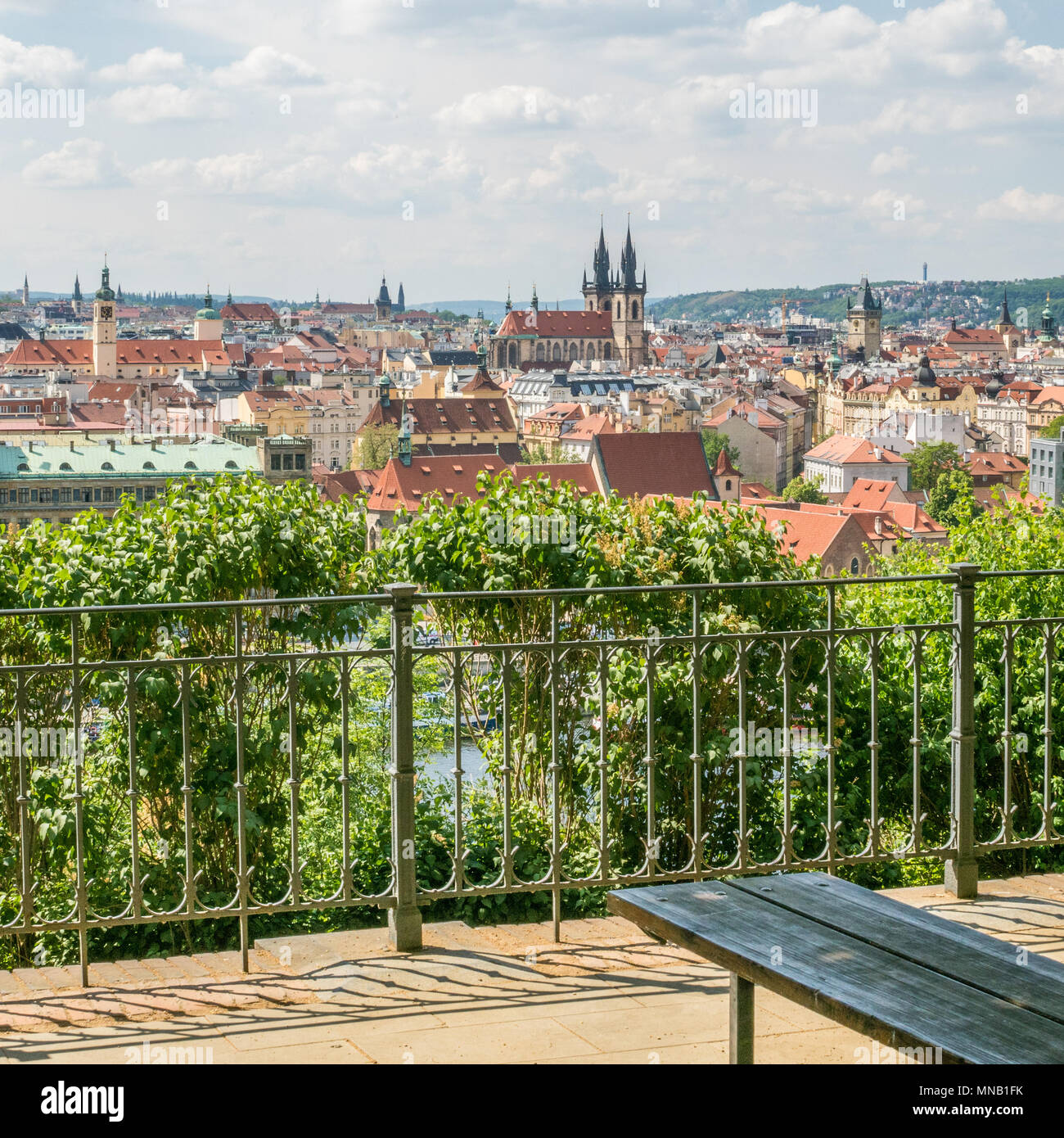 Prague as seen from Letna Beer Garden, Czech Republic. The twin spires of the Gothic  'Church of Our Lady before Tyn can be seen centre. - Stock Image