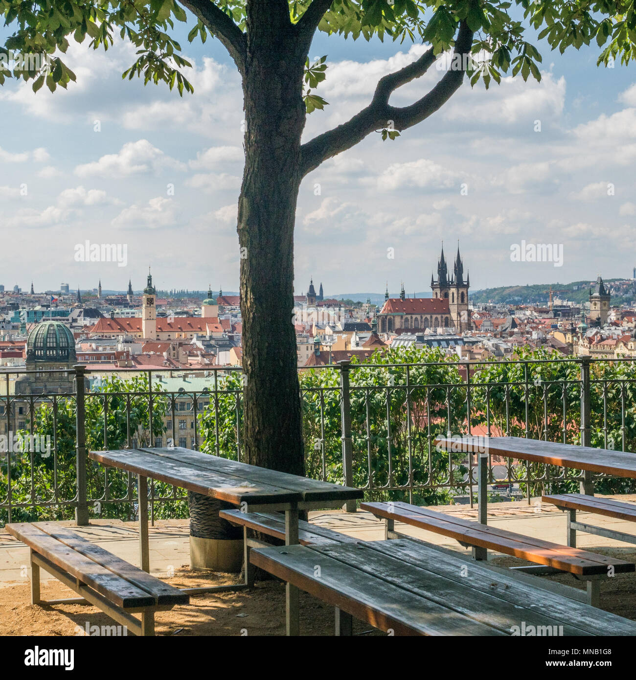 Prague as seen from Letna Beer Garden, Czech Republic. The twin spires of the Gothic  'Church of Our Lady before Tyn can be seen right. - Stock Image