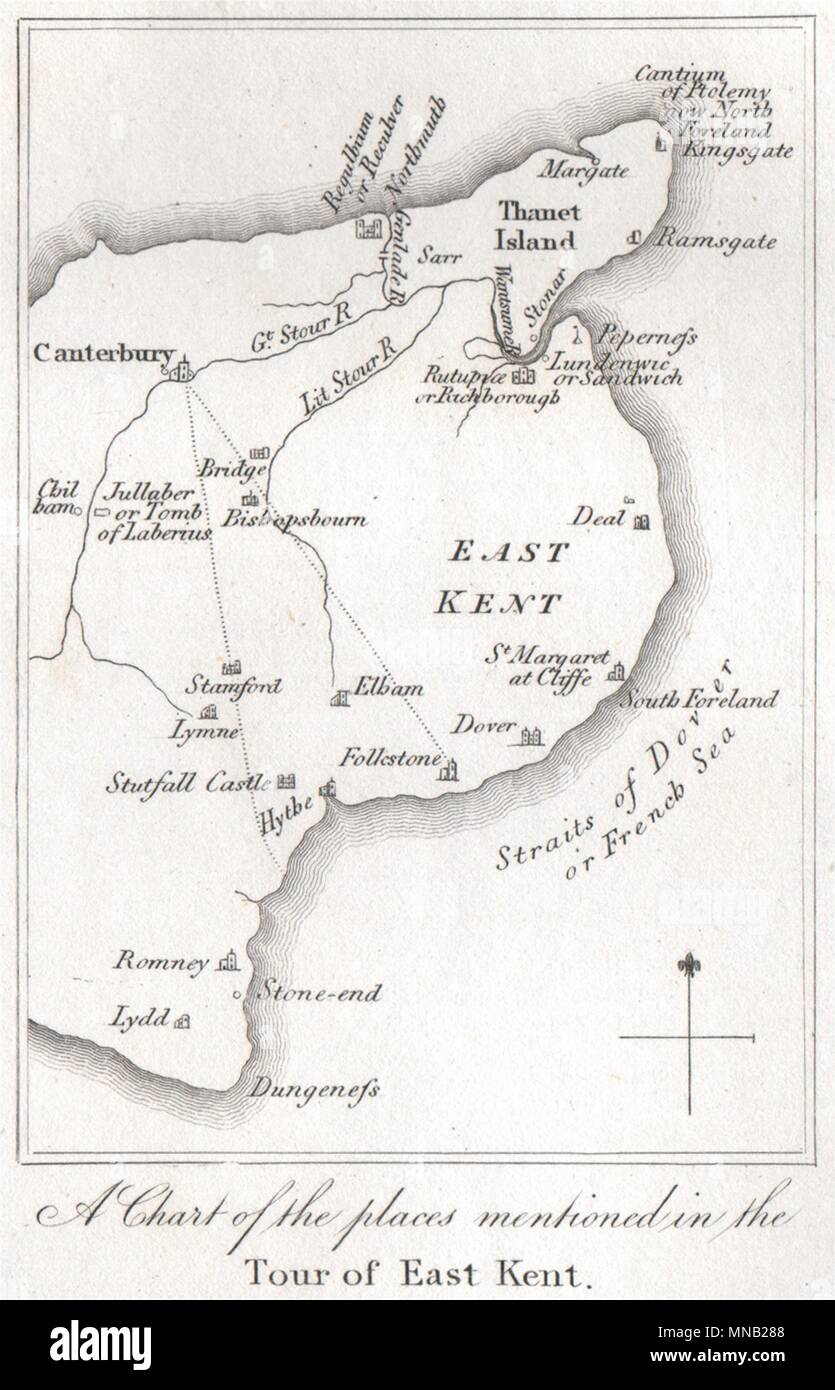 'A chart of the places mentioned in the tour of East Kent'. GOSTLING 1825 map - Stock Image