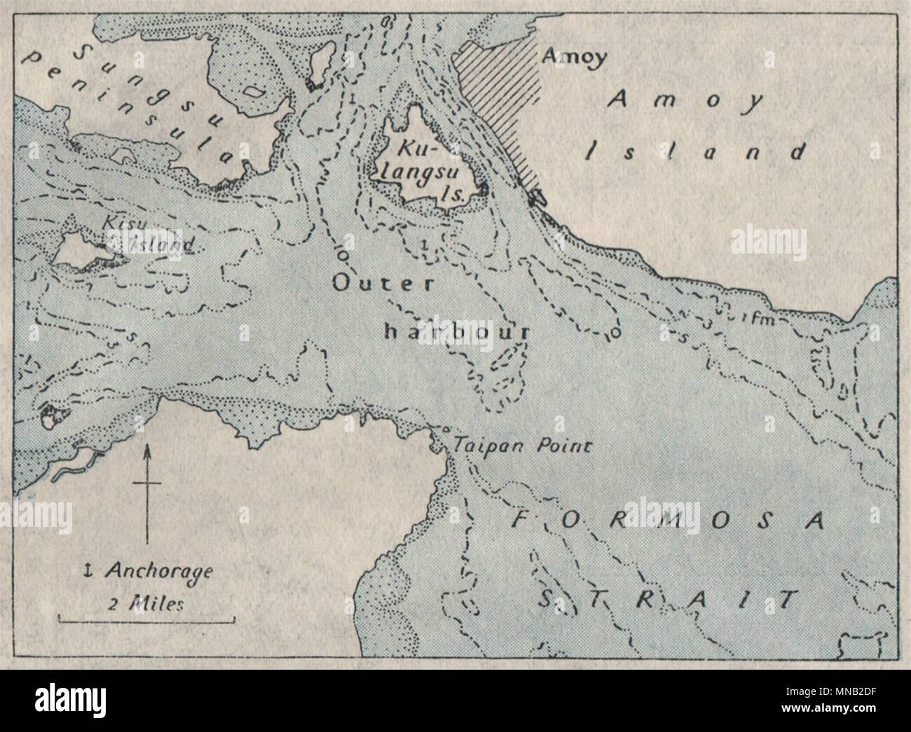 Xiamen China Map.Approaches To Amoy Xiamen China Ww2 Royal Navy Intelligence Map