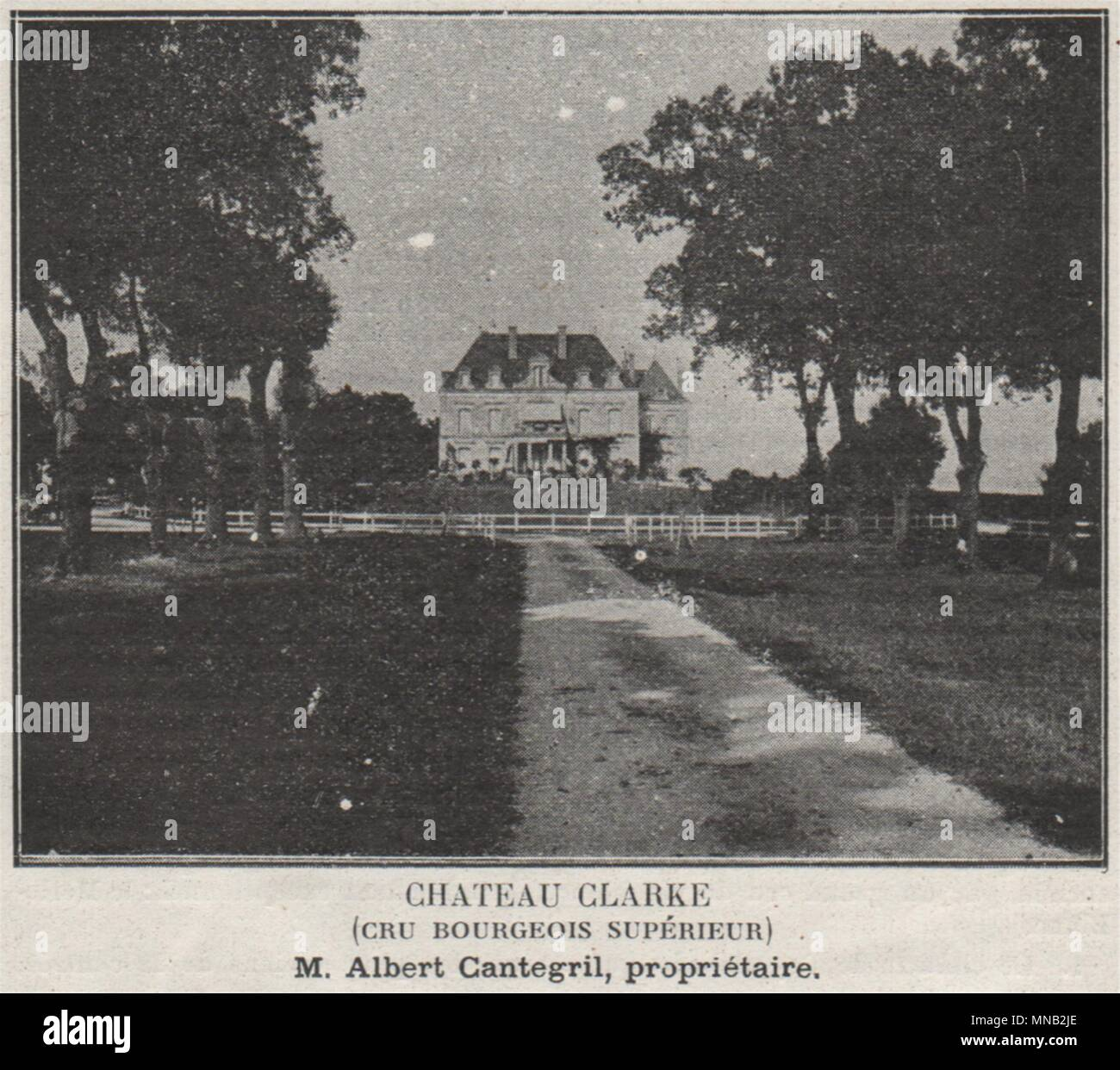 MÉDOC. LISTRAC. Chateau Clarke (Cru Bourgeois Supérieur). Cantegril. SMALL 1908 - Stock Image