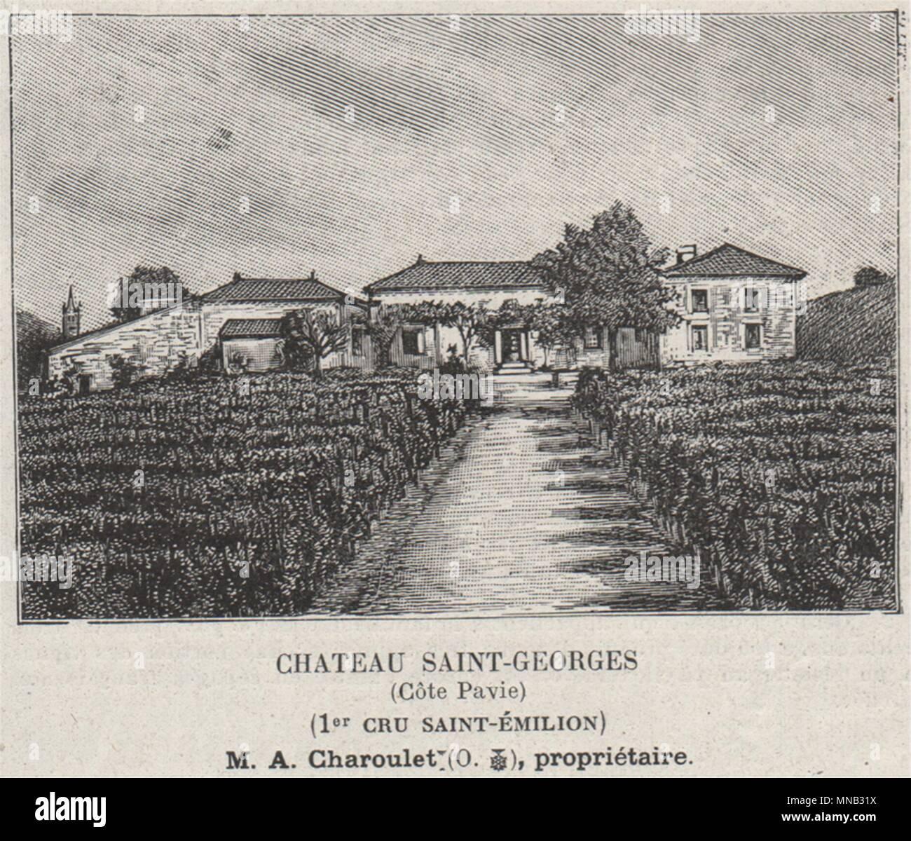 6bee0dcdf93 Chateau Saint-Georges (Côte Pavie) (1er Cru Saint-Émilion). SMALL 1908 print