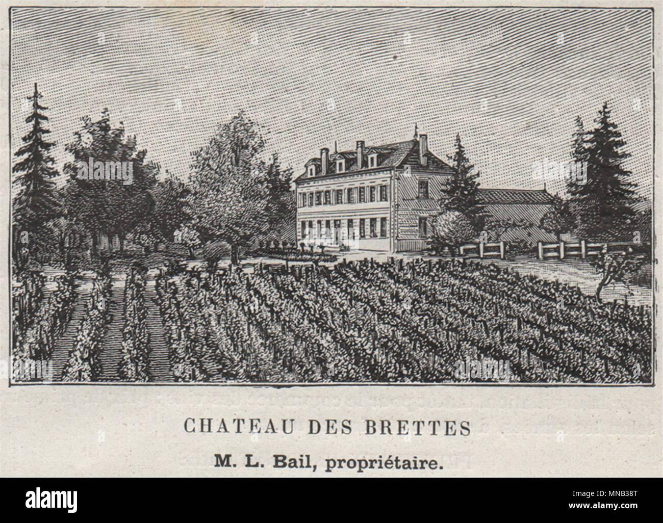 CANTON DE GUITRES. GUITRES. Chateau des Brettes. Bail. Bordeaux. SMALL 1908 - Stock Image