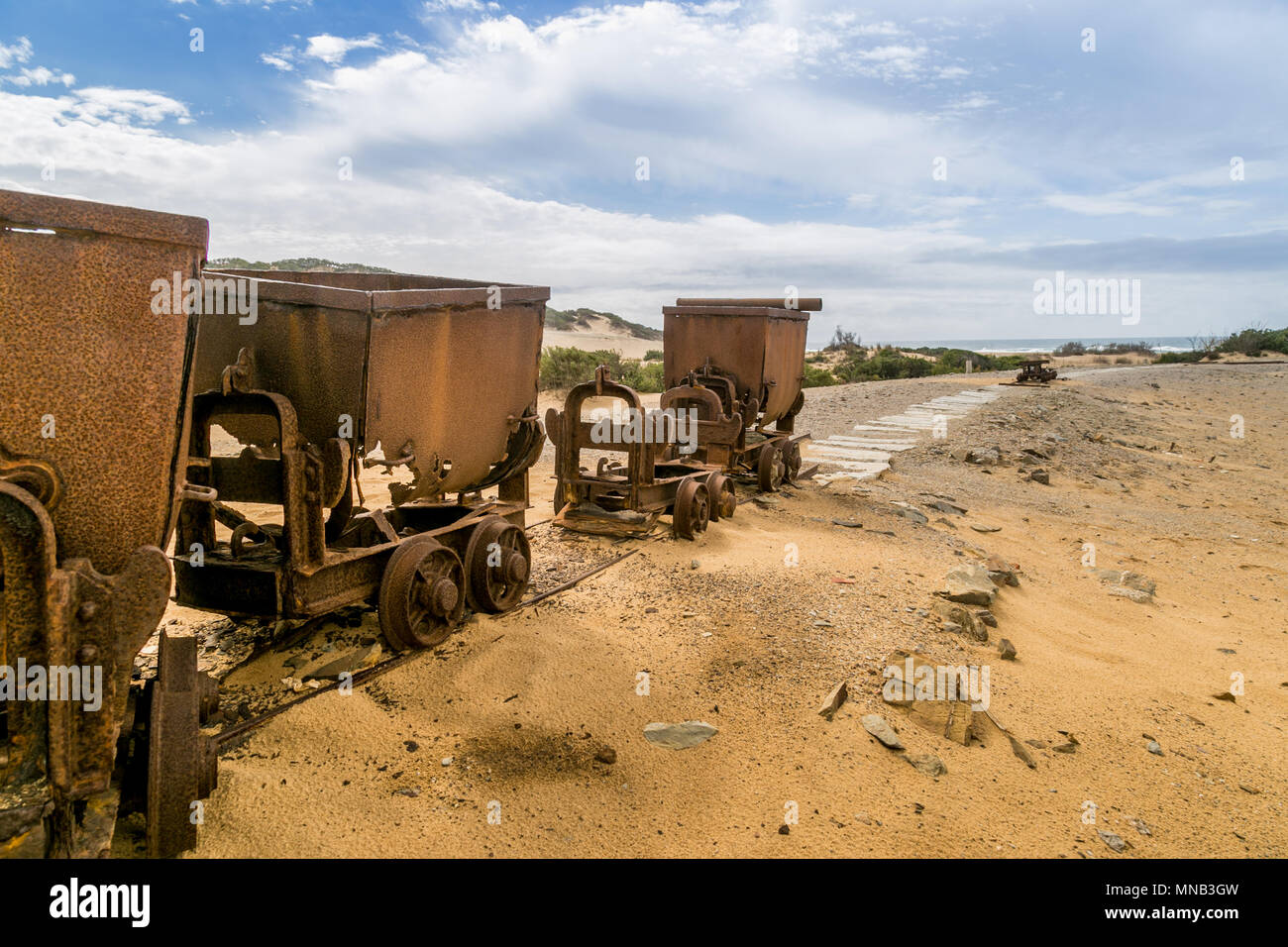 Rusty Mine Cart On Abandoned Tracks. Ingortosu Arbus