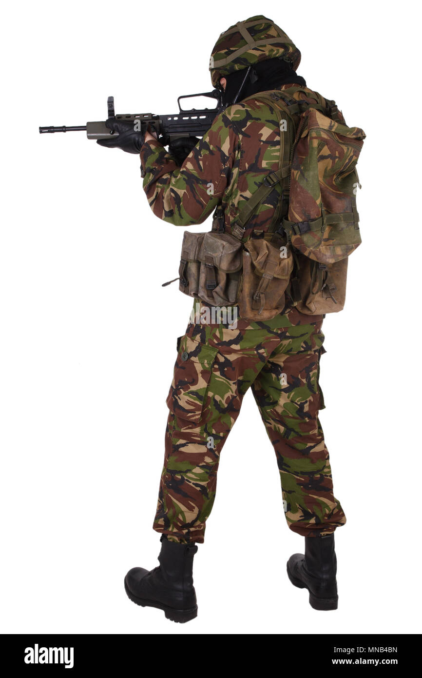 British Army Soldier isolated on white - Stock Image
