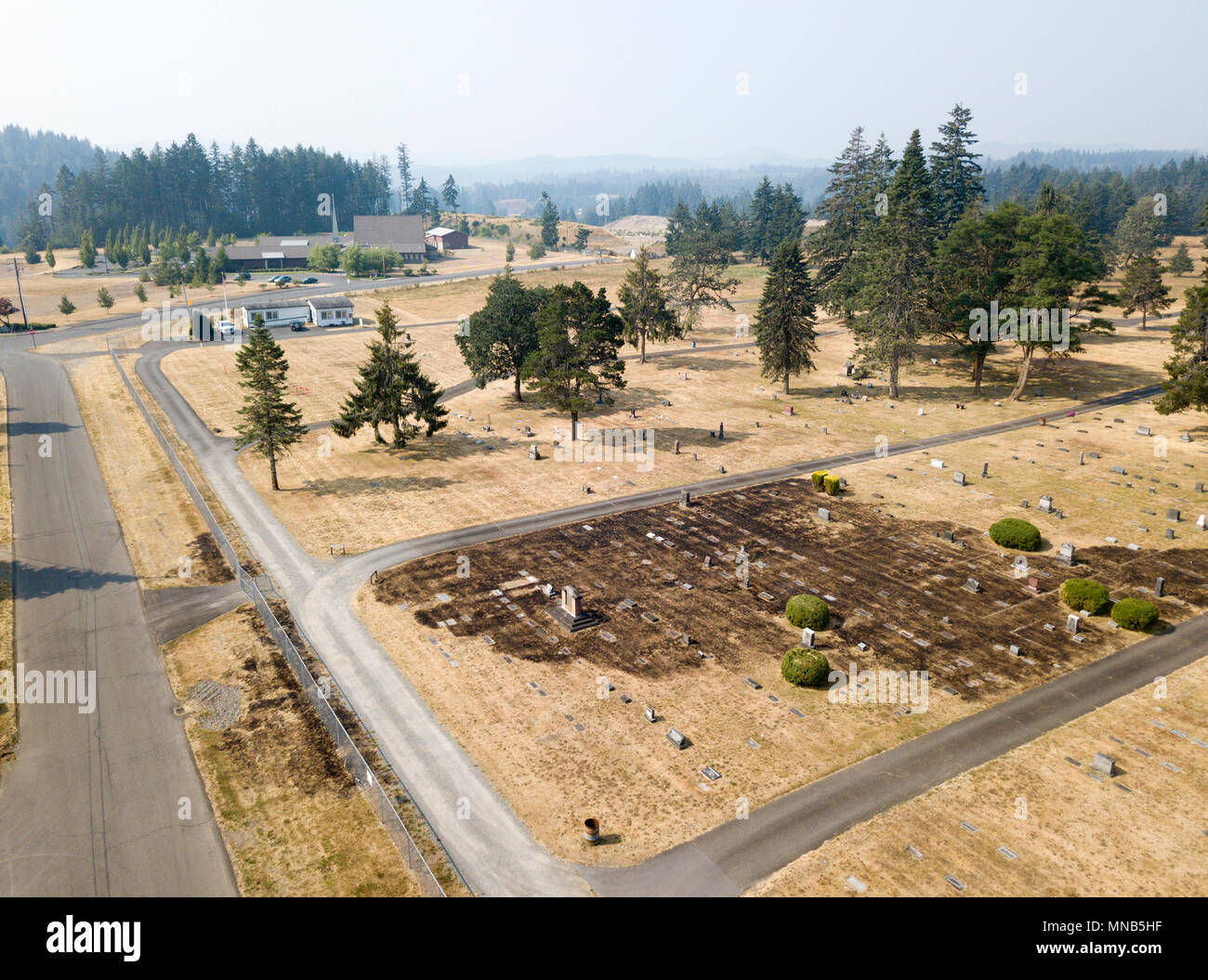 airial view of cemetary fire damage grassfire - Stock Image
