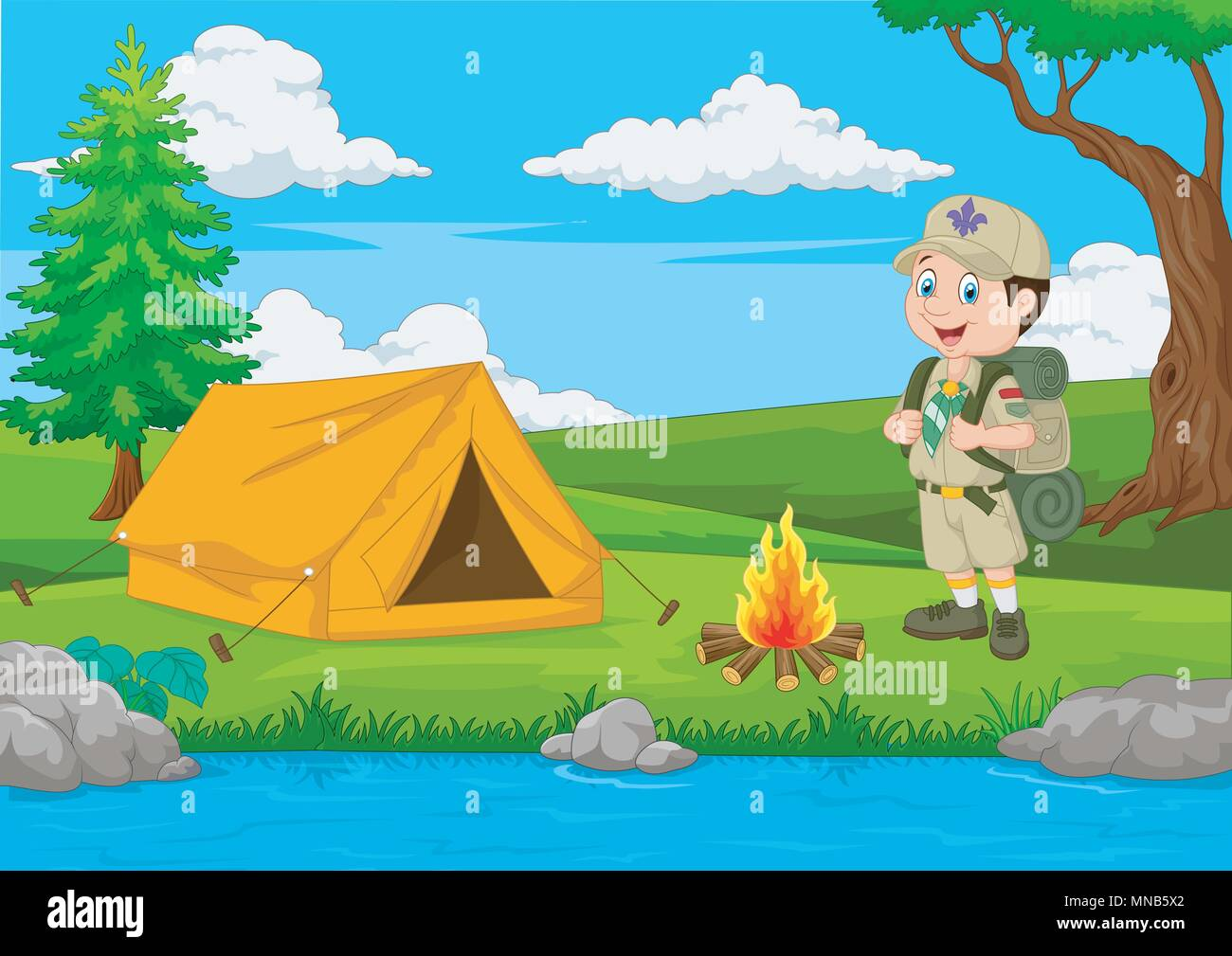 Cartoon scout with tent and fire - Stock Vector