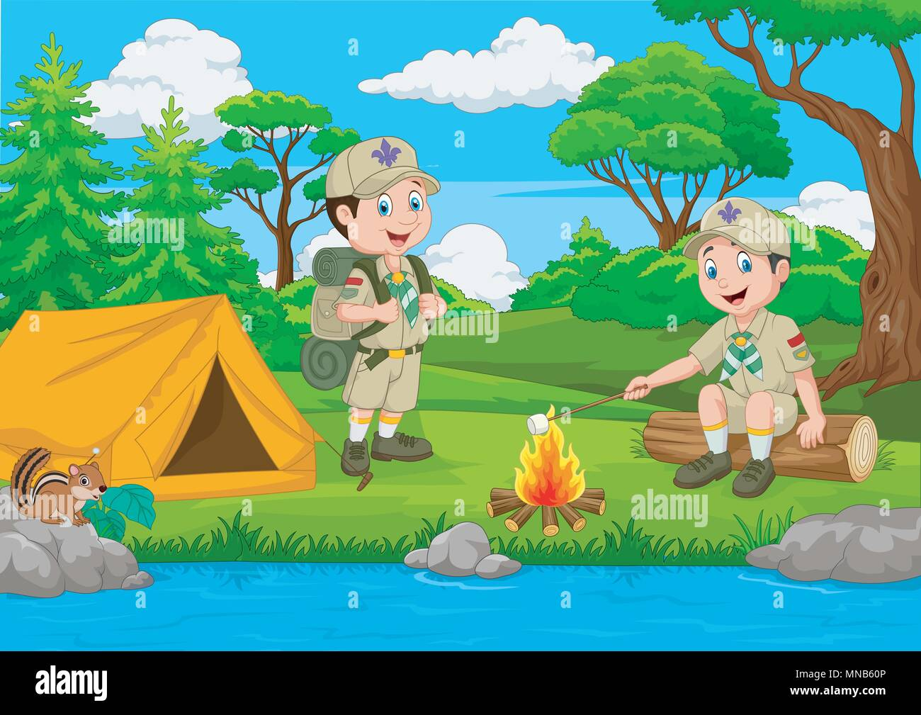 Cartoon scout with tent and camp fire - Stock Vector