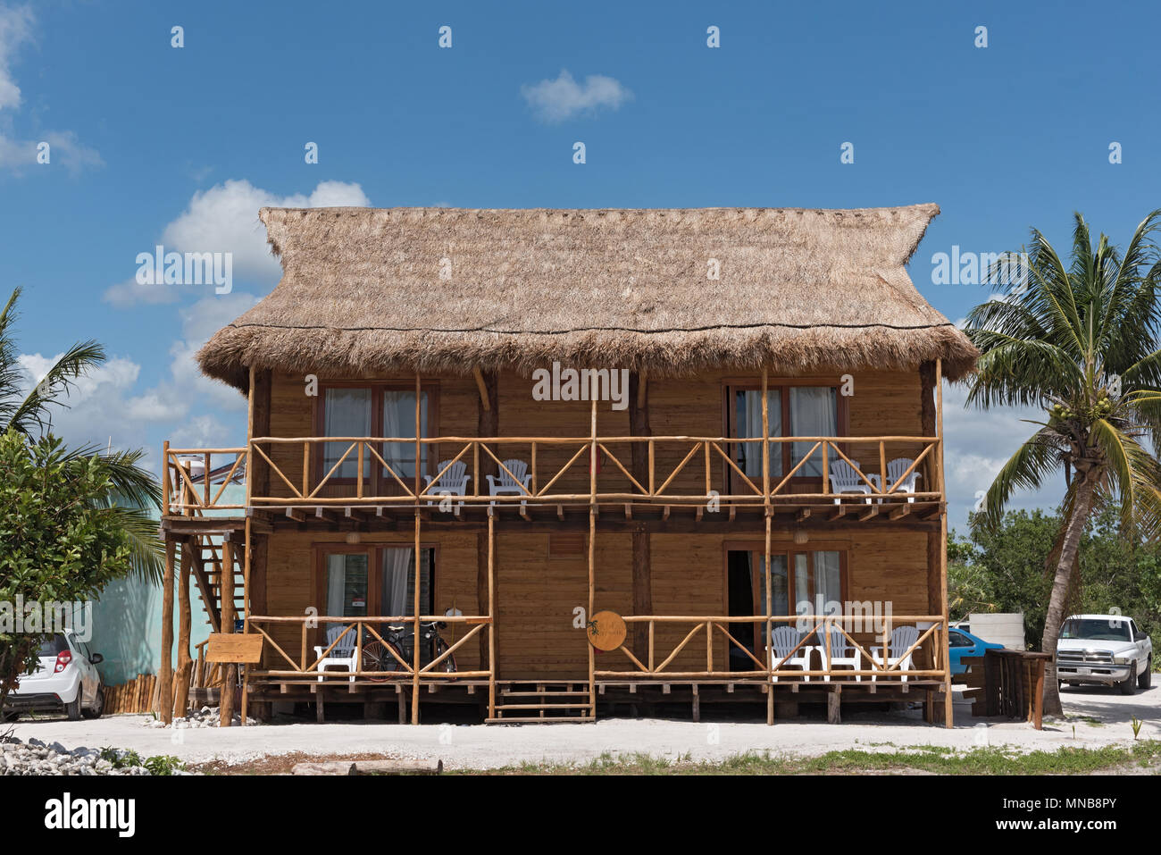wooden house in the center of mahahual, quintana roo, mexico - Stock Image