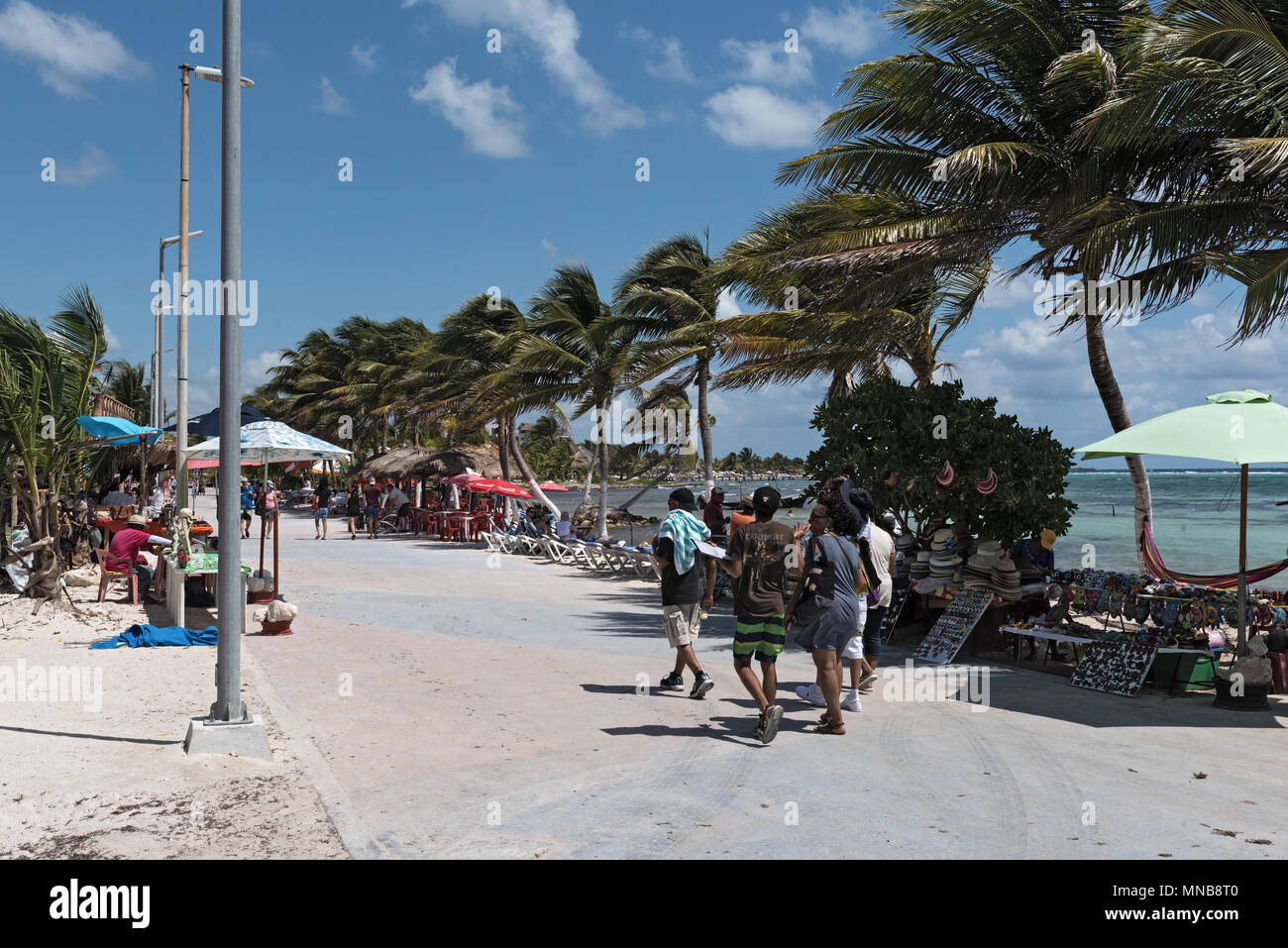 Beach With Souvenir Shops In Mahahual Quintana Roo Mexico Stock Photo Alamy