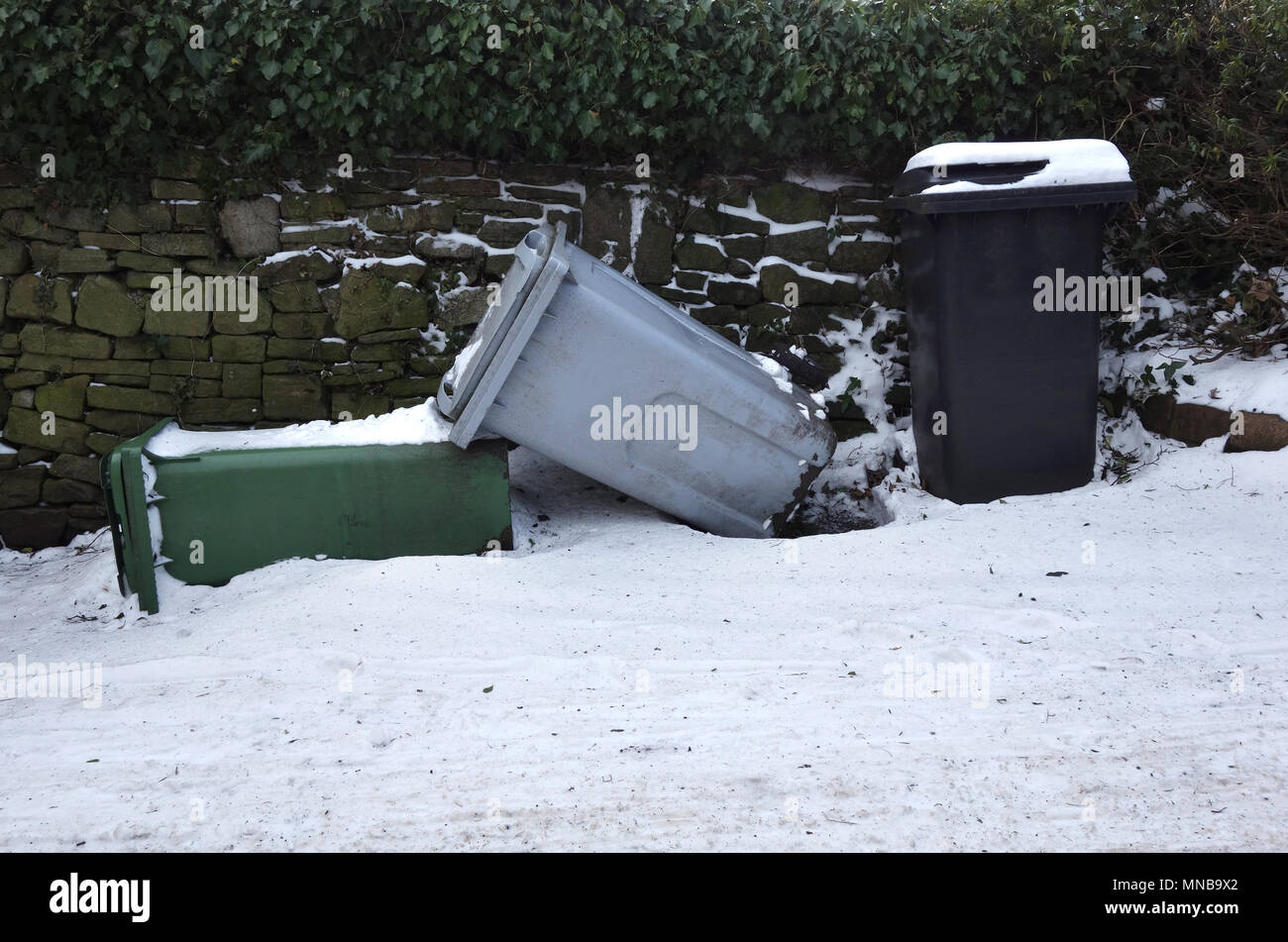 Black, grey and green wheelie bins tipped over in the snow Stock Photo