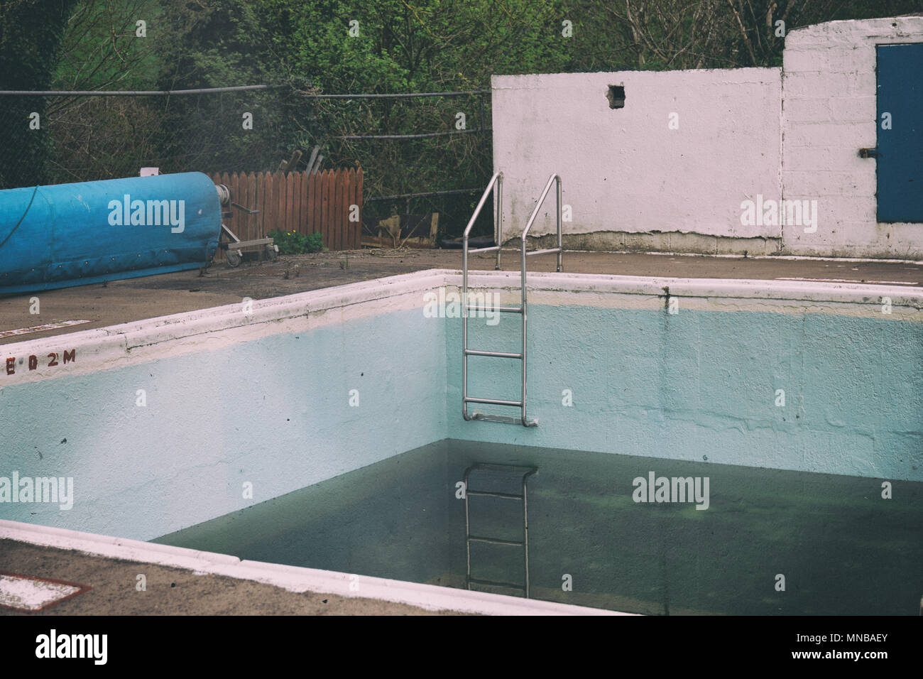 An Abandoned And Dirty Pool With Black Water Stock Photo Alamy