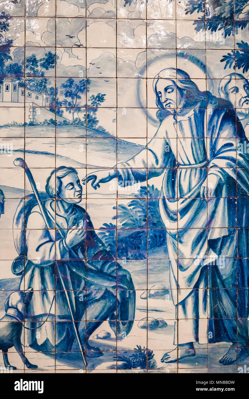 Portugal blue tile, detail of a large azulejo panel depicting a ...