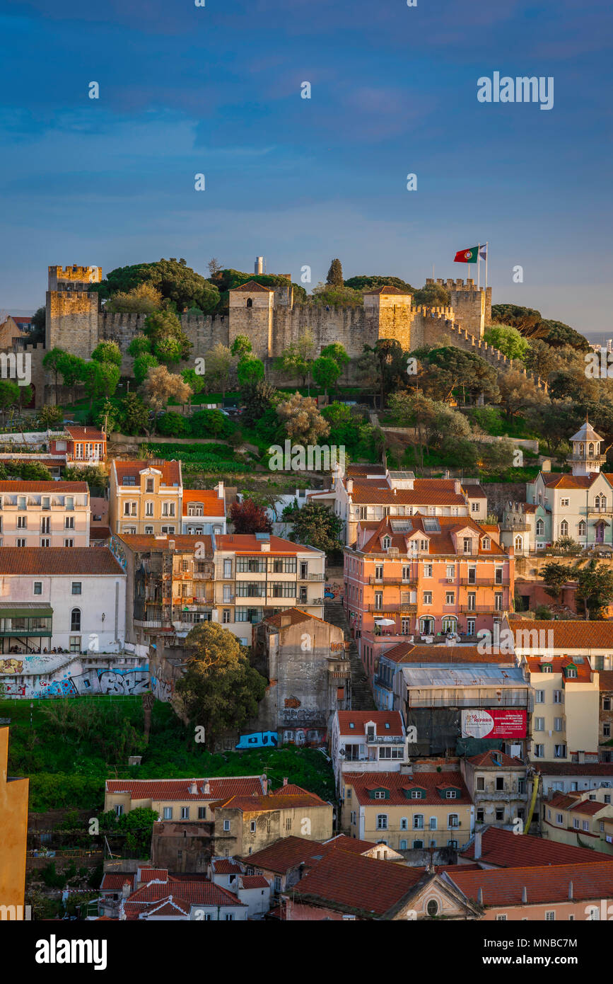 Lisbon city, view of the scenic medieval Castelo de Sao Jorge sited high above the old town Mouraria quarter in the center of Lisbon, Portugal. Stock Photo
