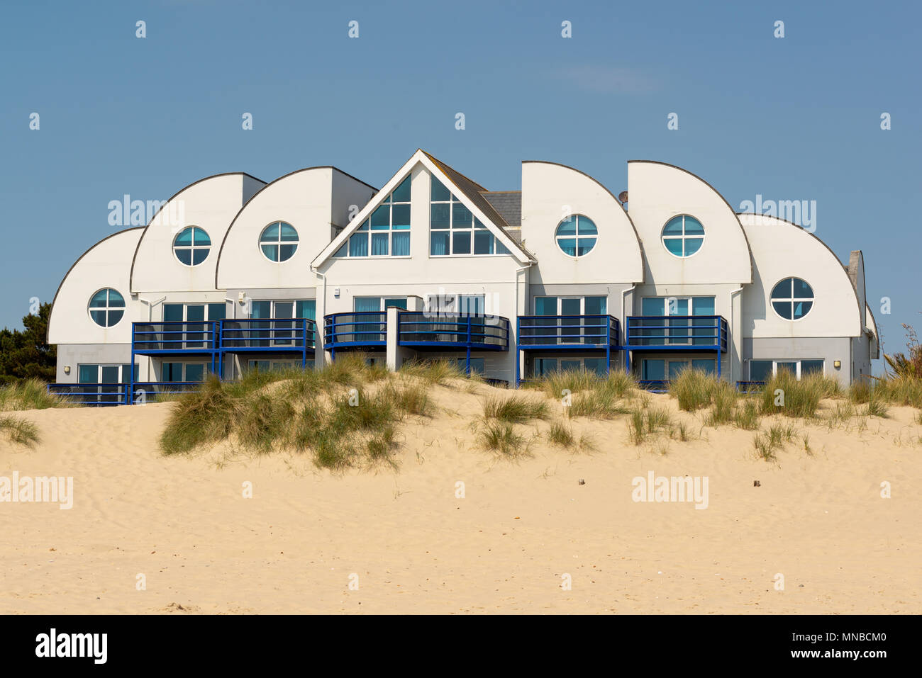 Ostentatious design of a property in the exclusive beach fronted area of the Sandbanks peninsula, Poole, Dorset, UK - Stock Image