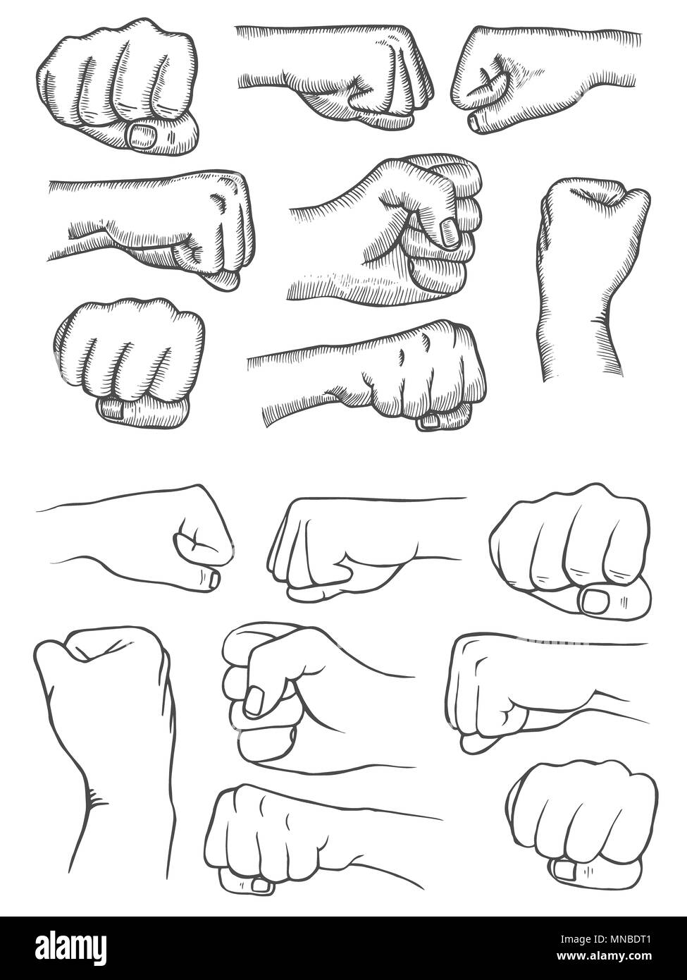 Set of fists in vintage style isolated on white background in the style of antique
