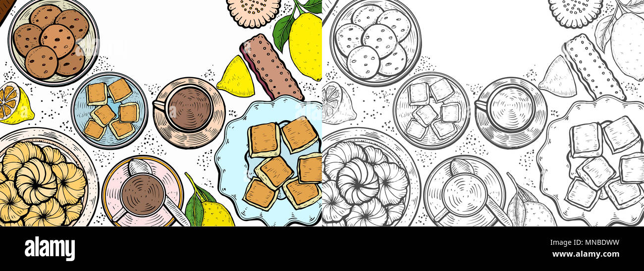 Food menu background. Middle eastern food, hand drawn. Oriental sweets  illustration. Linear graphic. Colorful  illustration. Stock Photo