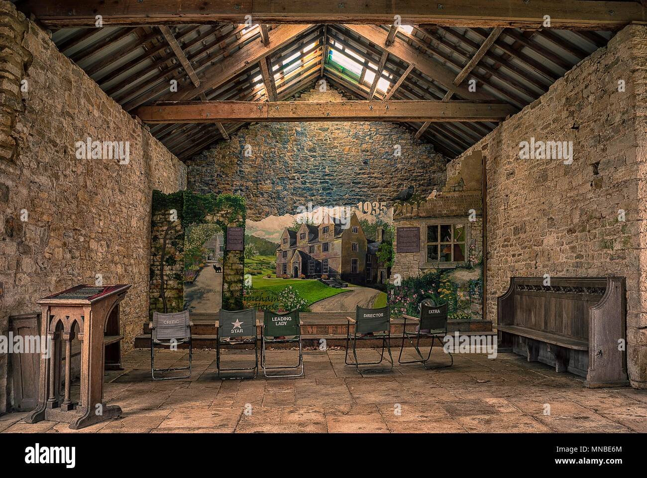 The interior of a barn in the ghost village of Tyneham in Dorset, UK - Stock Image