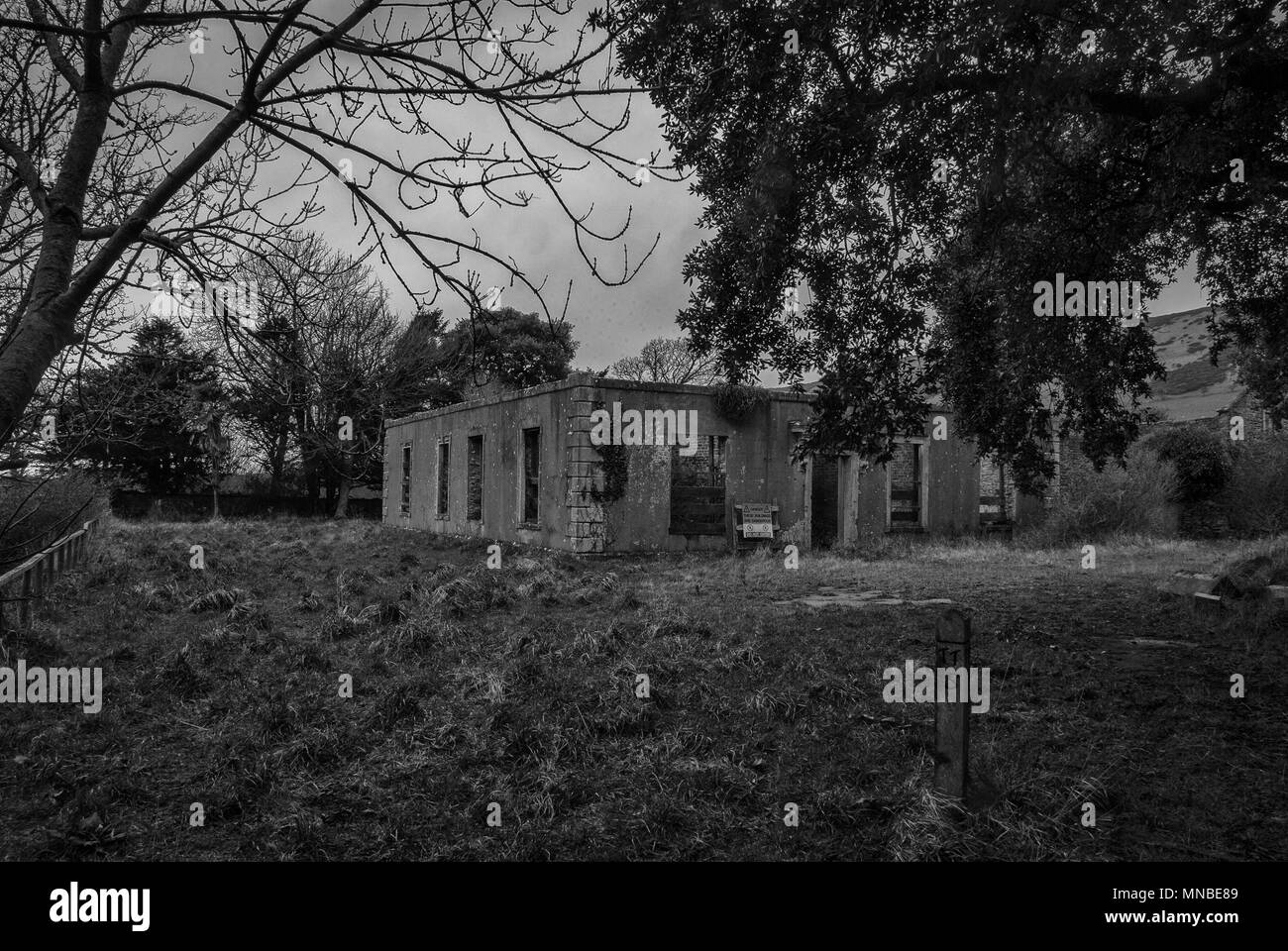 Abandonded buildings in the ghost village of Tyneham in Dorset, UK - Stock Image