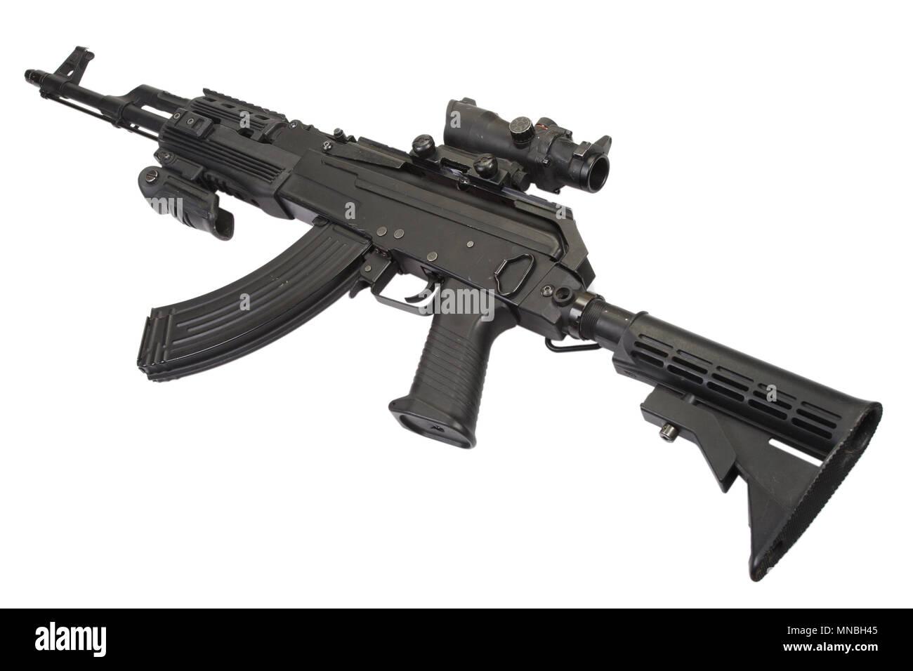 Modern Kalashnikov AK47 with tactical accessories Stock