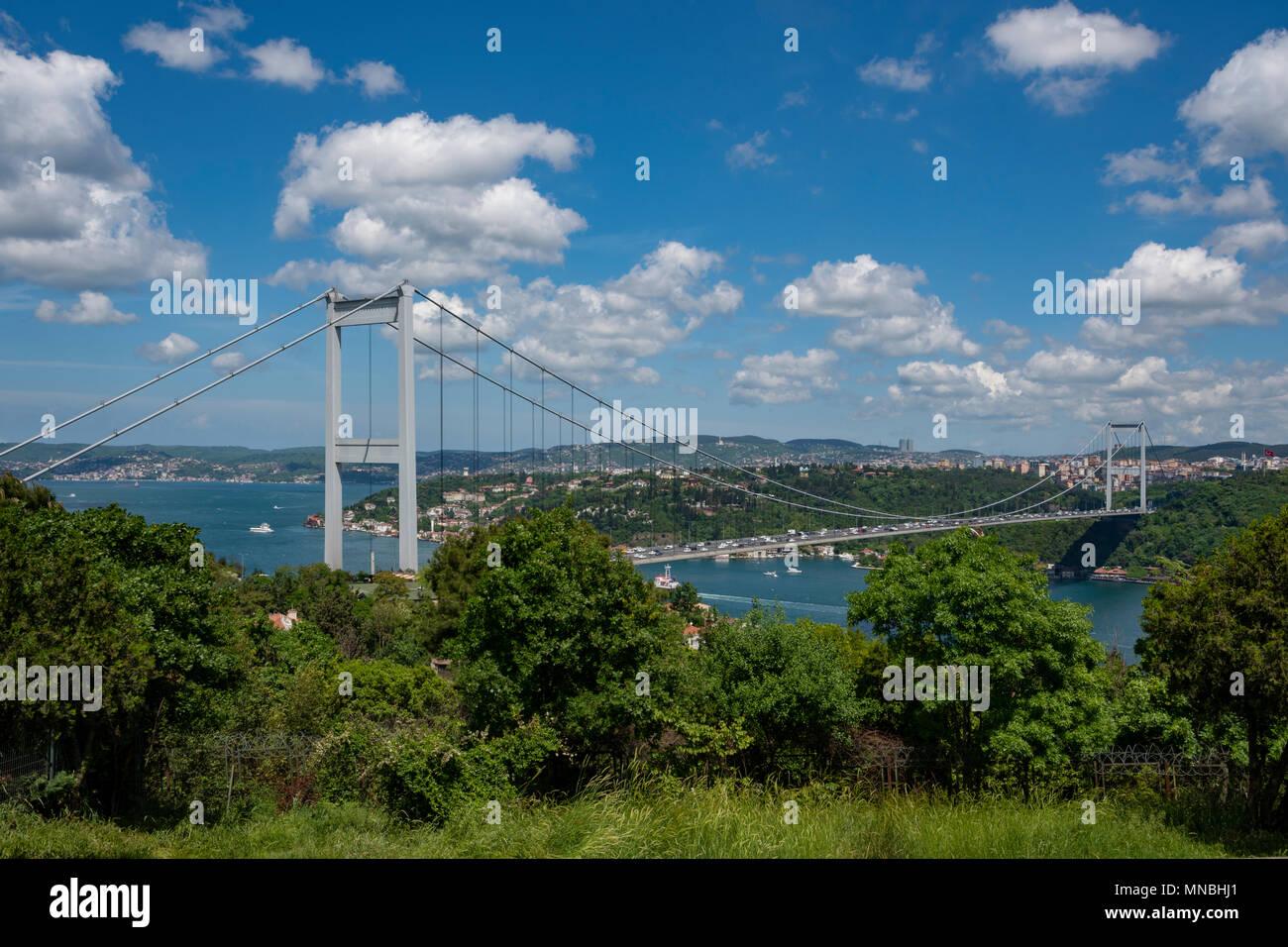 The Fatih Sultan Mehmet Bridge in the spring, Istanbul,Turkey Stock Photo