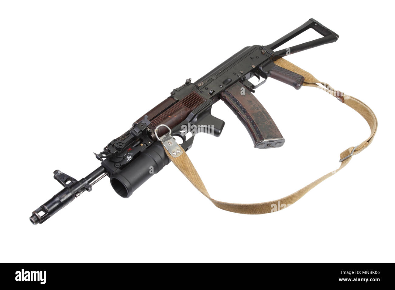 Kalashnikov AK with GP-25 grenade launcher isolated on white - Stock Image