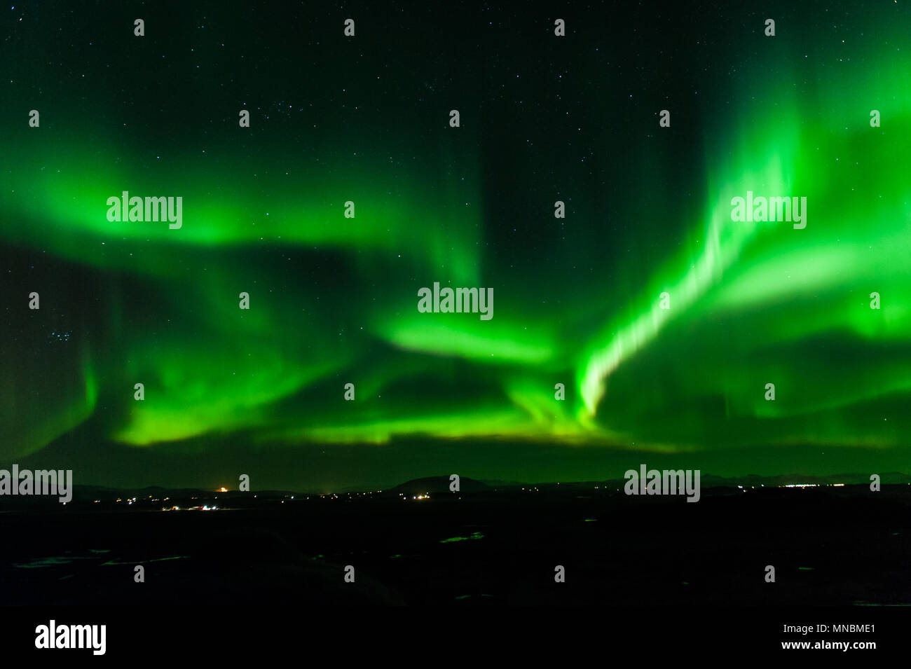 Strong activity of northern lights in iceland, april 2018 - Stock Image