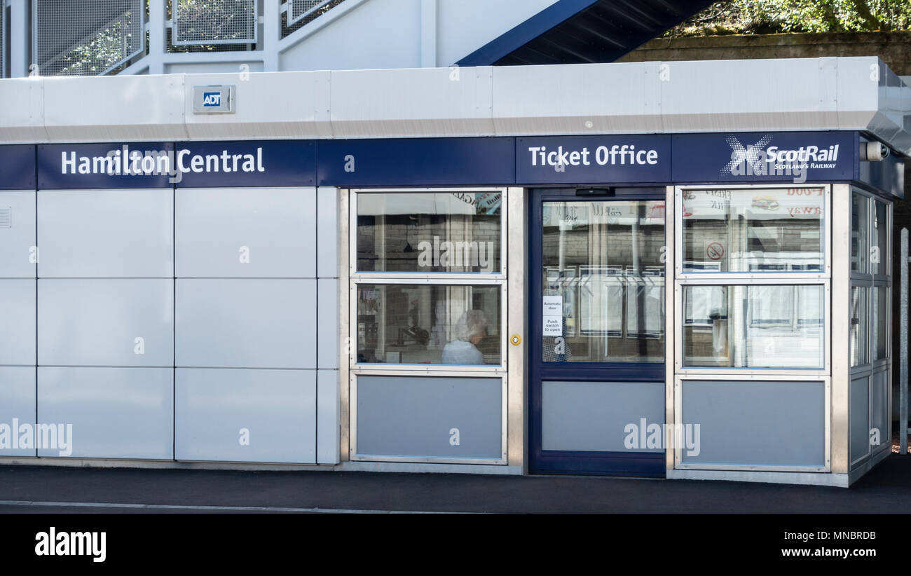 ScotRail Ticket Office at Hamilton Central railway station in South Lanarkshire, Scotland, UK. - Stock Image