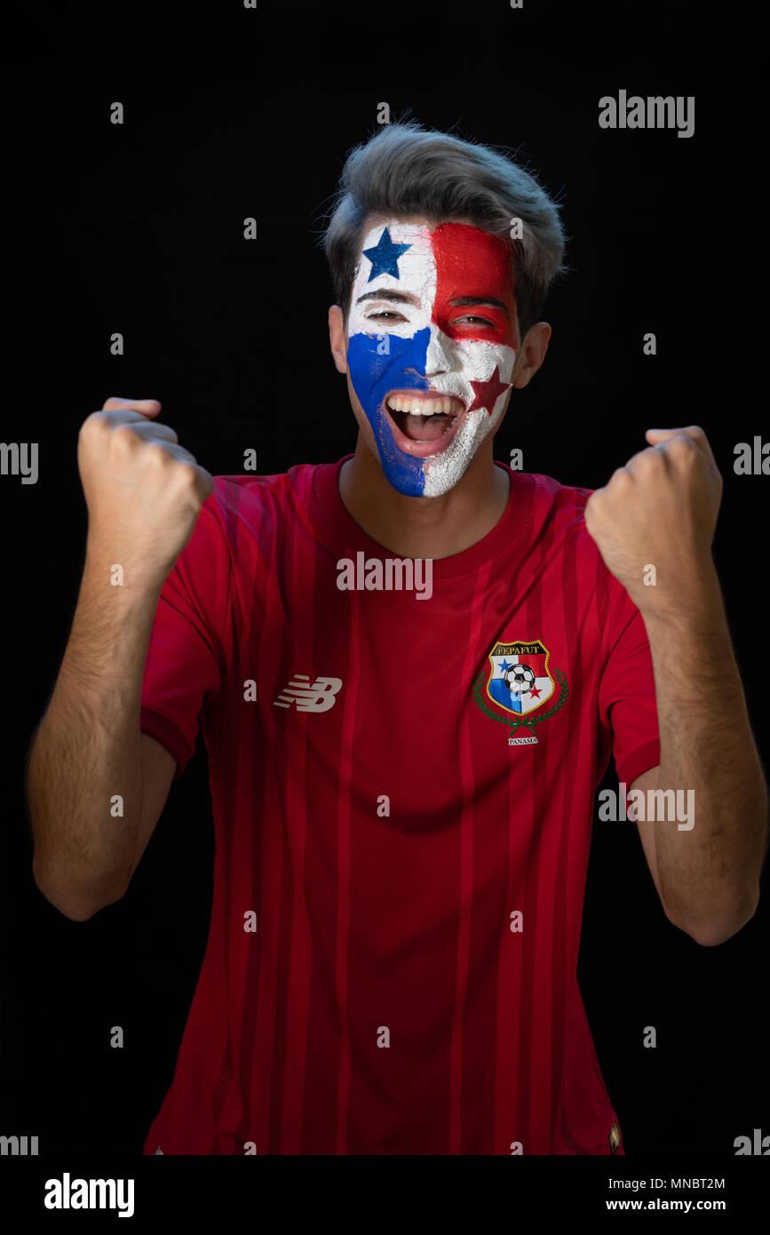 World Cup Rusia, Soccer,  Panamanian flag,  bandera de panama, rostro, 507, Panama, world cup, Rusia 2018, Panama soccer, Futbol, mundial de futbol, Stock Photo