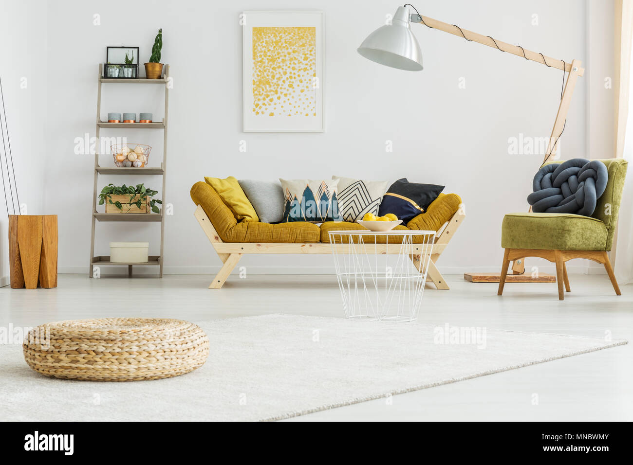 Big white carpet on the floor in cozy living room Stock Photo ...